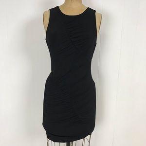 BCBGeneration Open Back Ruched Little Black Dress